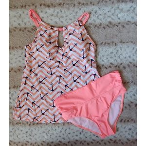 NWOT Coral Sailor Anchor Tankini Bikini M